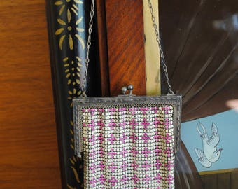 20s Whiting & Davis Mesh Purse - Vintage 1920s Pink and White Mesh Evening Art Deco Bag