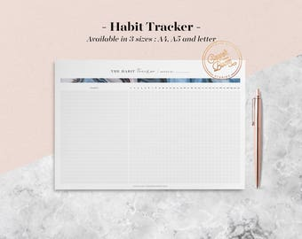 Marble Habit Tracker, Habit Planner, Monthly Planner, Health Tracker, Fitness Tracker, Routine Builder, Planner Inserts, Bullet Journal
