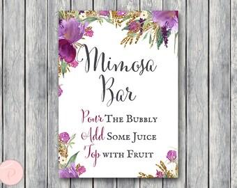 Purple Mimosa Bar Sign, Bubbly Bar Sign, Wedding Bar Sign, Printable Sign, Wedding Decoration Sign, Engagement Party Mimosa TH59