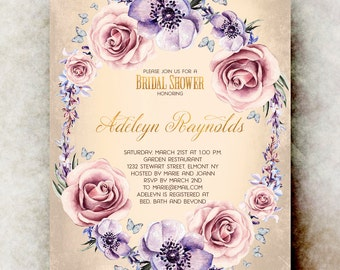 Watercolor bridal shower Invitation printable - vintage bridal shower invitation, floral bridal shower invitation, bridal shower invites