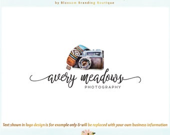 Camera Premade Logo Design & Blog Header - Web + Print + Watermark Files! Perfect for Photographer, Travel Blogger + much more!