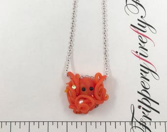 Mini Orange Octopus Necklace - Octopus and Pearl Pendant - Ocean Jewelry - Beach Jewelry - Freshwater Pearl Necklace - Deep Sea Necklace