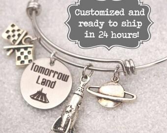 TommorowLand Engraved - DISNEY Inspired, Walt Disney World DisneyLand, Space Mountain, Custom Name Charm Bracelet, Adjustable Bangle