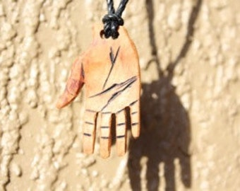 Open Hand Necklace / Hand-carved Wood Hand Necklace