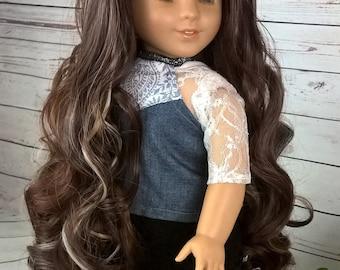 """Custom 10-11"""" Doll Wig Fits Most 18"""" Dolls """"Espresso Macchiato""""  Wig- Heat Safe"""
