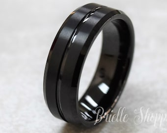 Black tungsten ring Etsy