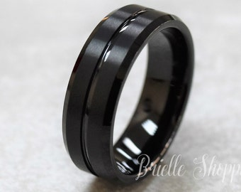 Tungsten Ring, Menu0027s Tungsten Wedding Band, Menu0027s Black Wedding Band, Black Tungsten  Ring, Tungsten, Tungsten Band, Personalized Engraving