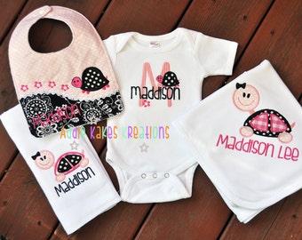 Personalized 4 Piece Turtle Themed Baby Girl Gift Set / Bodysuit, Bib, Burpcloth, and Blanket