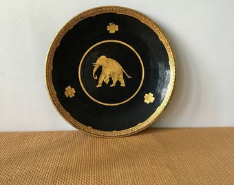 Vintage Black and Gold Lacquered Round Tray with an Elephant Motif, Burma