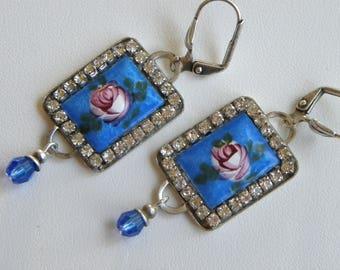 Guilloche Earrings Vintage Blue Guilloche Rhinestone Pink Rose Art Deco Sapphire Blue Rhinestone Earrings, Dark Blue Earrrings, ©2018DMJ