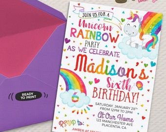 Unicorn Rainbow Birthday Party invitations DIY Unicorn Rainbow printable invite Rainbow birthday invitation Rainbow party invitation