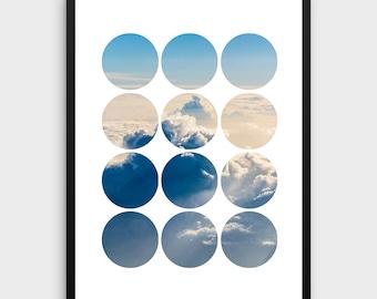 Cloud Photography   Nature Photography, Circle Art, Geometric Print, Printable Wall Art, Landscape Photography, Modern Wall Art