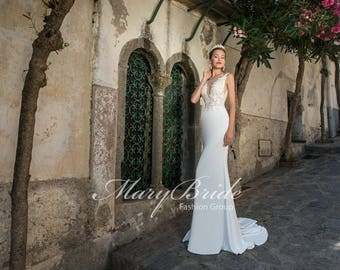 Zip UP Plunging Deep V Open Back Wedding Dress Includes Veil & Hair Accessory