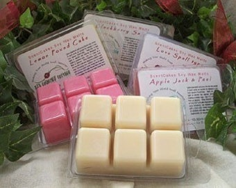 4 PACKS SOY TARTS / Melts - Strong, Highly Scented - Vanilla, Apple, Cinnamon, Fresh, Clean, Citrus, Lemon, Lilac, Floral, Fruit, Spice