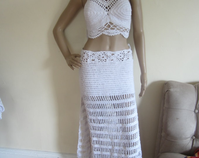 WHITE MAXI SKIRT, Boho maxi skirt, festival maxi skirt,  open work skirt, beach skirt, beach wedding skirt, hippie skirt, festival clothing