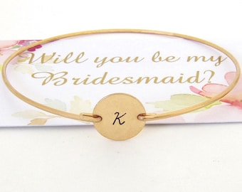 Will You Be My Bridesmaid Bracelet with Initial Gift for Bridesmaid Proposal Bracelet Card Personalized Your Set of 2 3 4 5 6 7 8 9 10 11 12