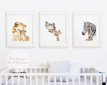 Mom and baby Safari animal, Nursery, African Baby Animal, Baby and Mommy Giraffe Mom Lion Baby Zebra Mother's day gift