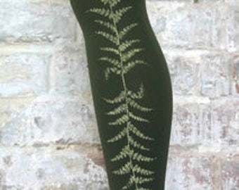 Green opaque tights military fern