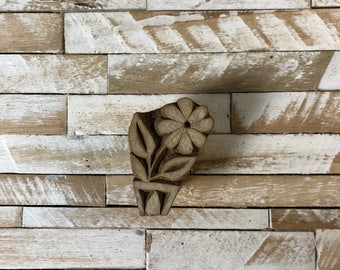 Vintage Wood Printing Block Stamp Made in India Floral/Flower Design (#41)