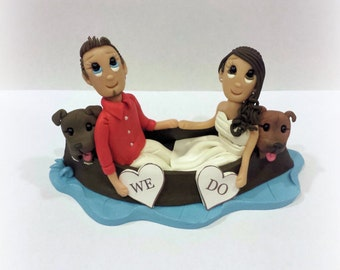 Custom Boat Wedding Cake Topper with Two Medium sized dogs