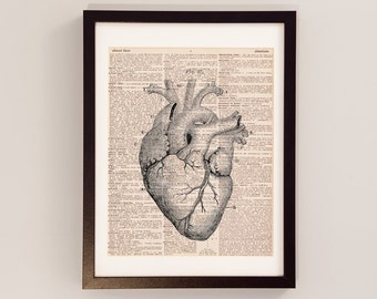 Vintage Heart Dictionary Print - Anatomy Art - Print on Vintage Dictionary Paper - Doctor Gift - Medical School