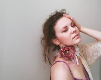Romantic blossom Brooch Coral Purple textile flower brooch