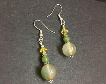 Natural Agate Jade Crystal Beaded Drop Earrings - Green Yellow Gemstone Drop Earrings
