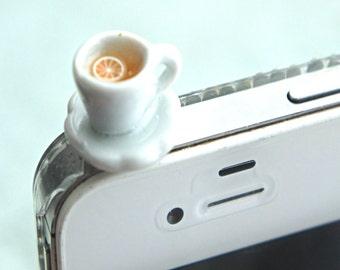 lemon tea phone plug- miniature food, tea cup phone accessories