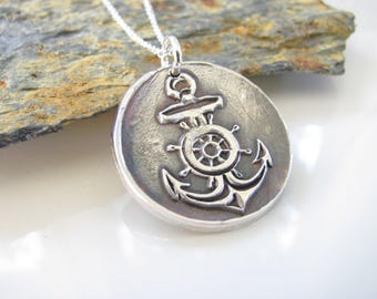 Anchor Necklace - Your My Anchor - Fine Silver - Sterling Chain - Made to Order - I will not Sink - I refuse to Sink - Recovery