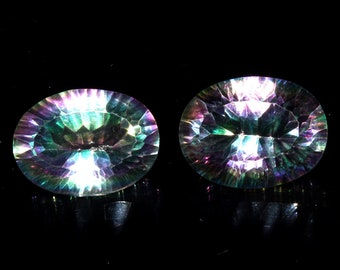 2 Peaces Pair AAA+ Natural Multi Color Mystic Topaz Faceted Oval Loose Gemstone, Top Quality Mystic Topaz Concave Cut Gemstone, 16x12 mm