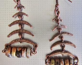 Tribal copper dangle earrings