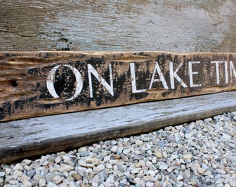 On Lake Time Rustic Distressed 3.5 Ft Wood Beach House Sign