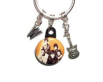 The Animals Personalized Charm Keychain Electrick Guitar Initial Charms classic rock music lover gift Dad Mom sister girlfriend boyfriend