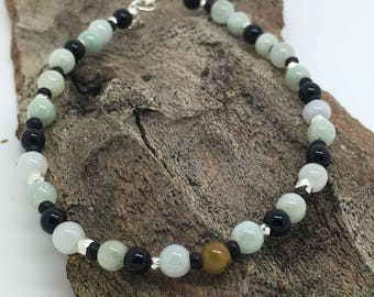 Dark Jade - Jade, Sterling Silver and Onyx bracelet