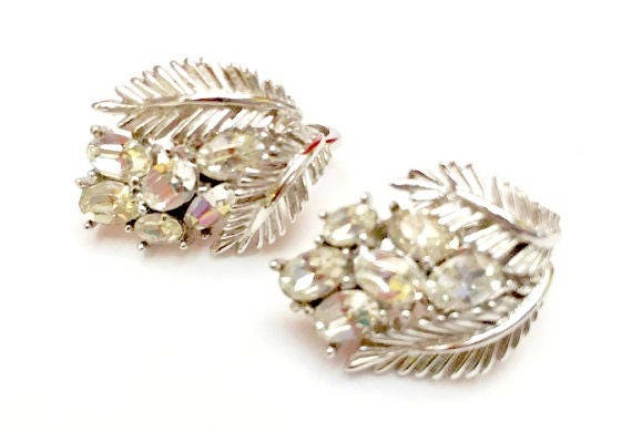 Crown Trifari Rhinestone Clip on Earrings - Clear Crystal - Silver leaf  - Mid Century -  Trifari Jewelry