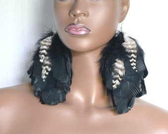 Real Feather Earrings, Black Feather Earrings, Grizzly Feather Earrings, Fluffy Black Feathers, Bohemian Earrings, Boho Feather Earrings