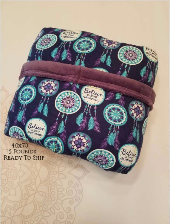READY to SHIP, Weighted Blanket, 40x70-15 Pounds, Dreamcatcher, Smooth Minky Back, Sensory Blanket, Calming Blanket,