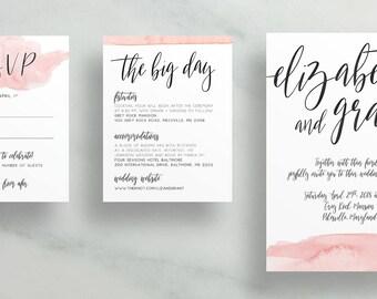 Watercolor Dipped Wedding Invitations / Blush Pink / Dip-Dye / Calligraphy / Semi-Custom Wedding Invites / Print-at-Home Digital Files