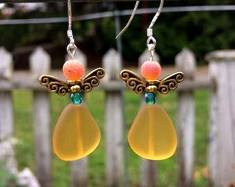 Yellow Sea Glass Earrings, Fairy Earrings