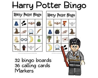 Wizard BINGO  for wizards and HARRY POTTER fans - Birthday party, game, loto