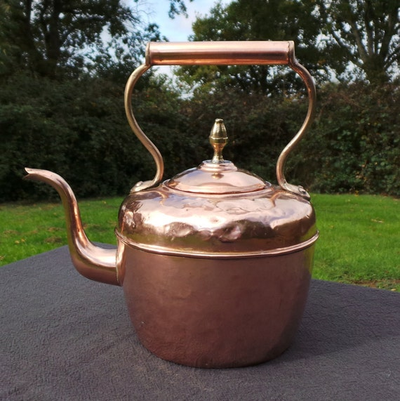 Copper Kettle French Made Bouloire Vintage Copper Arab Quarter Copper Pot Retailer Brass Copper Mounts Tinned Interior Fully Water Tight