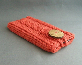 Cell Phone Cover for iPhone 4, 5 or 6, Samsung Galaxy s3, s4 or S5 Hand Knit Earthy Orange Coconut Button Crochet Loop Office Gadget Case