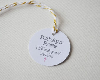 Baptism Christening Communion tags - 1.5 inch or 2 inch Round Small Label Tags - Custom Favor & Gift Tags
