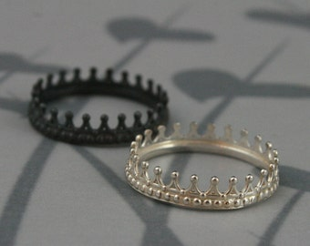 king and queen crown wedding rings black and sterling silver crown band setcheck matecrown 5313