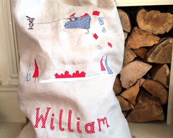 Santa on his sleigh freehand embroidered large sack