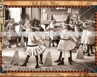 WITCHES SEMINARY - Primitive Halloween Postcards