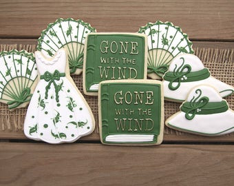 Gone with the Wind Cookies / Gone with the Wind Party Decor / Gone with the Wind Favors / Book Party Favors / Book Cookies / Bridal Shower