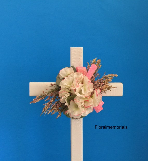 Cemetery flowers, flowers for grave, grave decoration, memorial cross, Cross