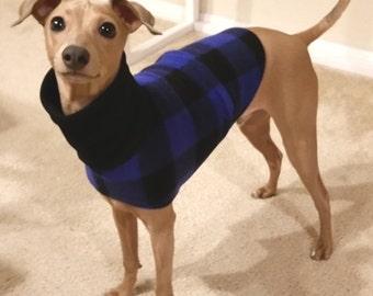 """Italian Greyhound Clothing. """"Blue Buffalo Plaid Jacket"""" - Italian Greyhound Sizes"""