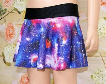 Purple Hologram Glitter Galaxy Nebula Circle Twirl Skirt Child ALL Sizes - MTCoffinz